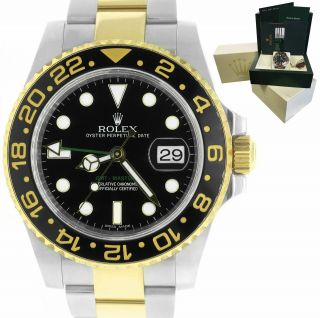 Rolex Gmt - Master Ii Ceramic 116713 Black Two - Tone 40mm Watch Box Papers
