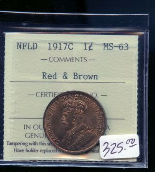 1917 Newfoundland Large Cent Iccs Certified Ms63 Rb A991