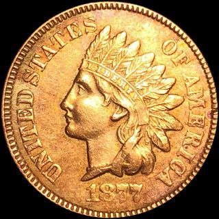 1877 Indian Head Cent High Unc? Key Date Penny Collectible Gemy Raw Rb