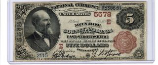 Series 1882 $5 Brown Back National Currency East Stroudsburg,  Pa