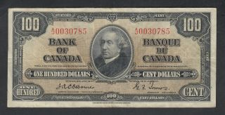 1937 Bank Of Canada 100 Dollars Bank Note Osborne
