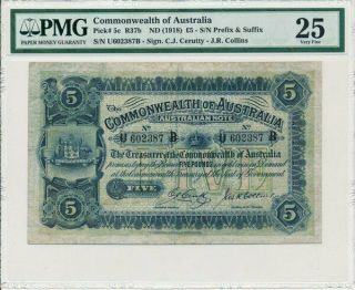 The Treasurer Of The Commonwealth Of Australia 5 Pounds Nd (1918) Pmg 25