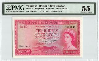 Mauritius Nd (1954) P - 28 Pmg About Unc 55 10 Rupees