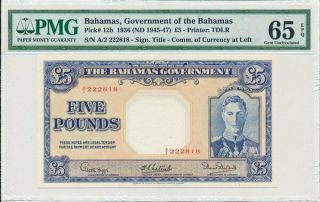 Government Of The Bahamas 5 Pounds 1936 Good S/no 222818.  Rare Pmg 65epq