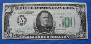 "Series Of 1934 $500.  00 Federal Reserve Note "" Boston "" - Estate Fresh"
