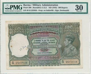 Reserve Bank Of India Burma 100 Rupees Nd (1945) Ovpt.  Rare Pmg Ef 30
