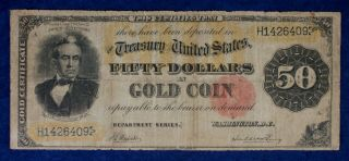1882 $50 Large Size Gold Certificate Currency Banknote