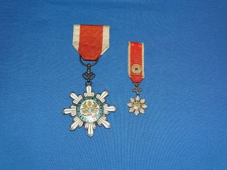 Wwi - Wwii Chinese Medal,  Order Of The Golden Grain Pair W/ Mini