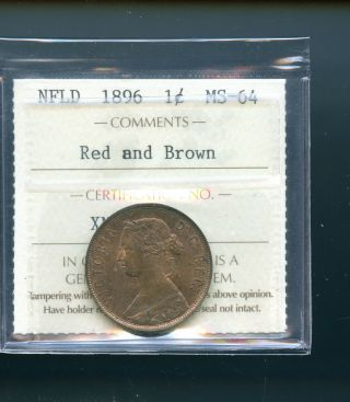 1896 Newfoundland Large Cent Iccs Certified Ms64 Books $1400 Rb