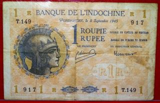 India French Roupie / Rupie Ad 1945 Very Fine Plus Good Presentable One.