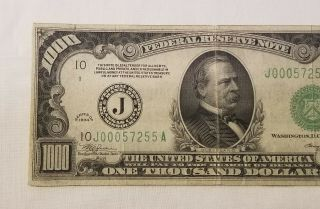 West Point Coins 1934 $1,  000 Federal Reserve Note ' J ' Kansas City FR - 2211 - J 3