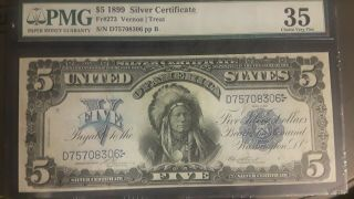 1899 $5 Silver Certificate Large Size Us Currency Rare Paper Money Choice Vf