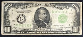1934 One Thousand Dollar Bill Federal Reserve Note $1000
