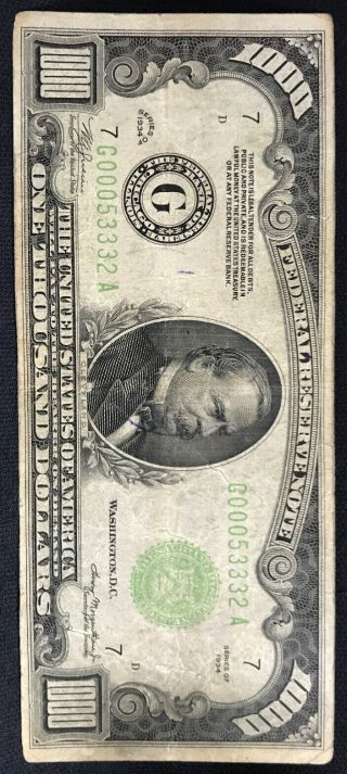 1934 One Thousand Dollar Bill Federal Reserve Note $1000 3