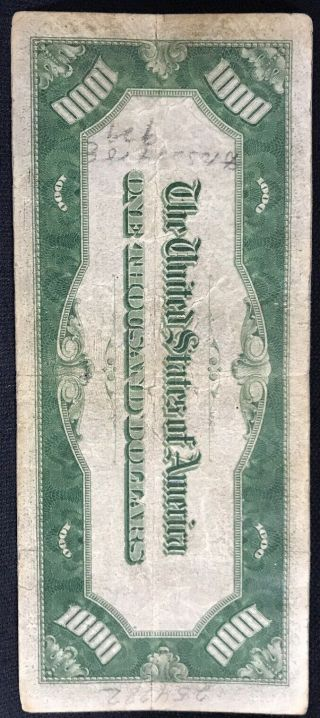 1934 One Thousand Dollar Bill Federal Reserve Note $1000 7