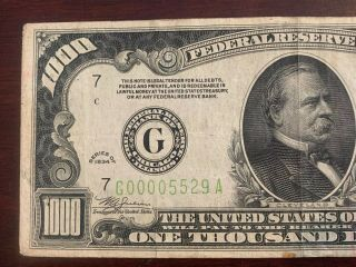 1934 1000 Dollar Note From Federal Bank Of Chicago 4