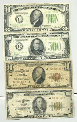 $620 Fv In $10 And $100 1929 Frbns,  A 1934 Frn $10 And A $500 Bill In