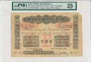 Government Of India India 10 Rupees 1918 Large Note Pmg 25