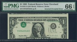 Incredible Error 1995 $1 Inverted Type 2 Pmg 65 Gem Uncirculated Epq / Cleveland