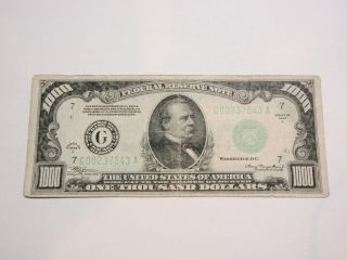 Federal Reserve Note $1000.  00 Bill