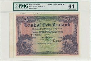Bank Of Zealand Zealand 5 Pounds 1917 Specimen.  Rare Pmg 64