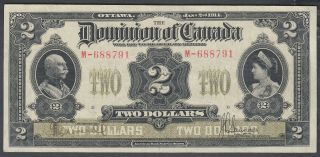 1914 Dominion Of Canada 2 Dollars Bank Note