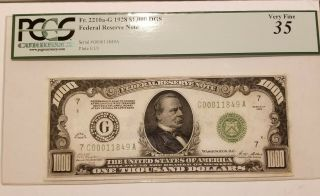 1928 Thousand Dollar Note US,  PCGS,  PPQ35 2