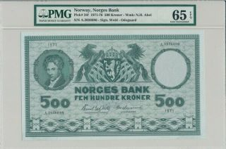 Norges Bank Norway 500 Kroner 1971 Prefix A Pmg 65epq