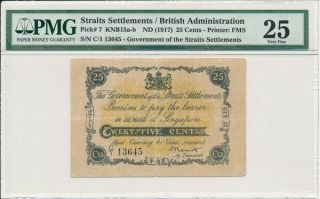 Government Of The Straits Settlements 25 Cents Nd (1917) Pmg 25