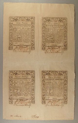 1786 Rhode Island Colonial Currency Uncut Sheet Of 4 Notes Xf