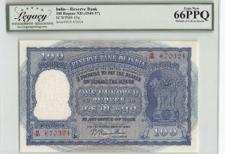 India Nd (1949 - 57) P - 43a Legacy Gem 66 Ppq 100 Rupees