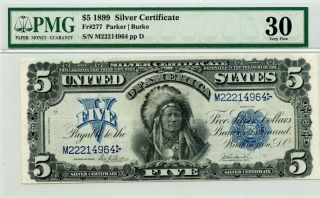 1899 $5 Silver Certificate Fr 277 - Chief Running Antelope - Pmg 30 Very Fine