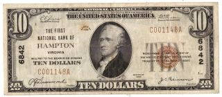 1929 First National Bank Of Hampton Currency $10 Ten Dollar Bill F - 1801 R38