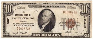 1929 National Bank Of Fredericksburg Currency $10 Ten Dollar Bill F - 1801 R37