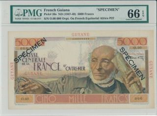 Caisse Centrale French Guiana 5000 Francs Nd (1947 - 49) Specimen Pmg 66epq