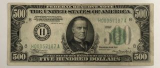 1934 - A $500 U.  S.  Fedral Reserve Note St.  Louis