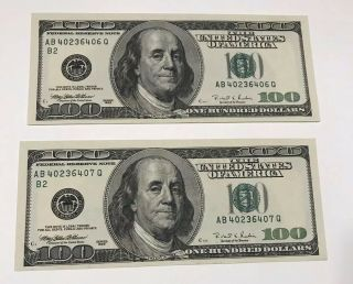 Two Sequential 1996 Unc $100 One Hundred Dollar Bills Federal Reserve Notes 3