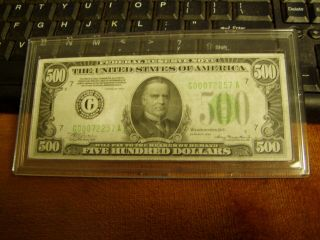 1934 $500 Federal Reserve Note,  Chicago Rare 5 Digits Serial Number,  G00072257a