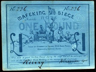 South Africa: Boer War Mafeking Siege 1 Pound P S655b PMG 63 3