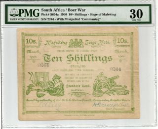 South Africa: Boer War Mafeking Siege 10 Shillings.  P S654a Pmg 30