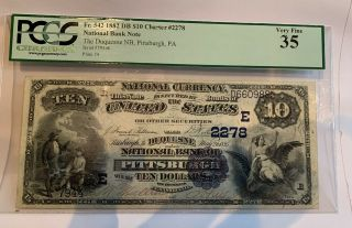 $10 1882 The Duquesne Pittsburgh Pa National Bank Note Fr.  542 Ch.  2278 Pcg35