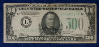 1934 $500 San Francisco Federal Reserve Currency Banknote