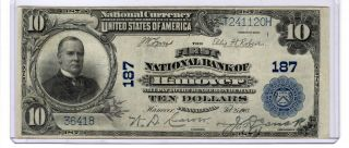 Series 1902 $10 National Currency First National Bank Of Hanover,  Pa