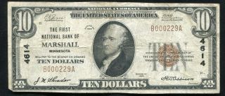 1929 $10 The First National Bank Of Marshall,  Mn National Currency Ch.  4614