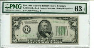 Fr 2102 - G 1934 $50 Federal Reserve Note Pmg 63 Epq Choice Uncirculated