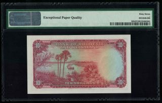 P - 20b Rhodesia & Nyasaland 10 Shillings 1961 Gem UNC PMG67EPQ Known best 2