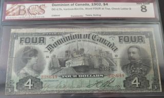 1902 Bcs Certified Very Good 8 Dominion Of Canada $4 (four) Dollars Note