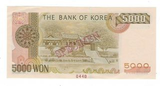 South Korea 2002 5000 Won Specimen Note Ef,  /aunc.  Ep - 7982