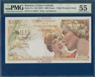 Reunion 1000 Francs Nd (1947) P47a Pmg 55 Abt.  Unc France D