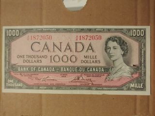 Canadian $1,  000 Dollar Bank Note Paper Bill 1 Thousand 1954 Canada: Lawson/bouey